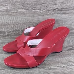 Red slip-on wedge high heel shoes sandals